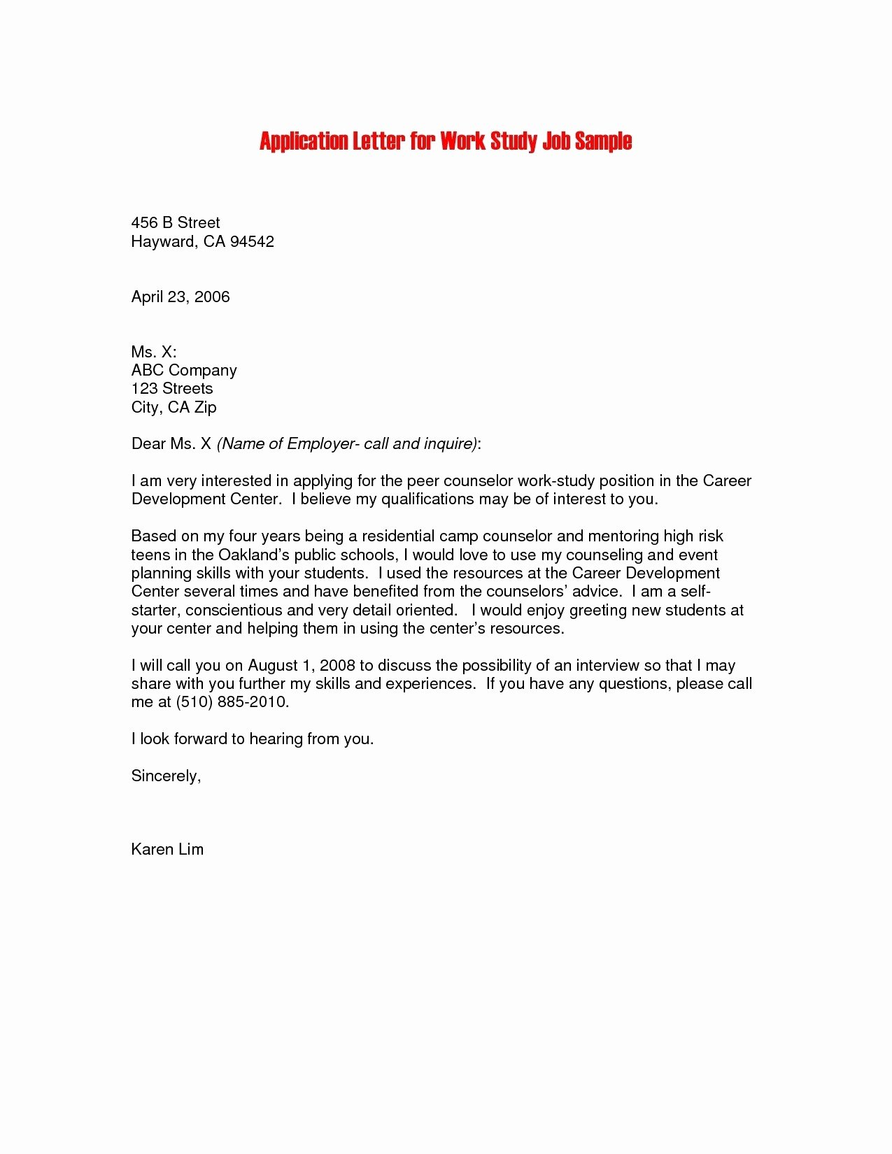 Job Application Letter format Pdf Unique Job Application Sample Pdf