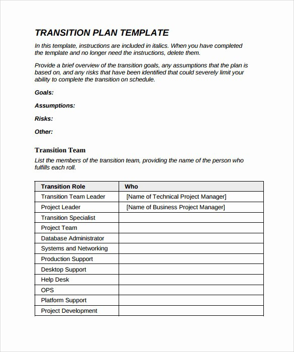Job Transition Plan Template Fresh 9 Sample Transition Plans – Pdf Word Pages