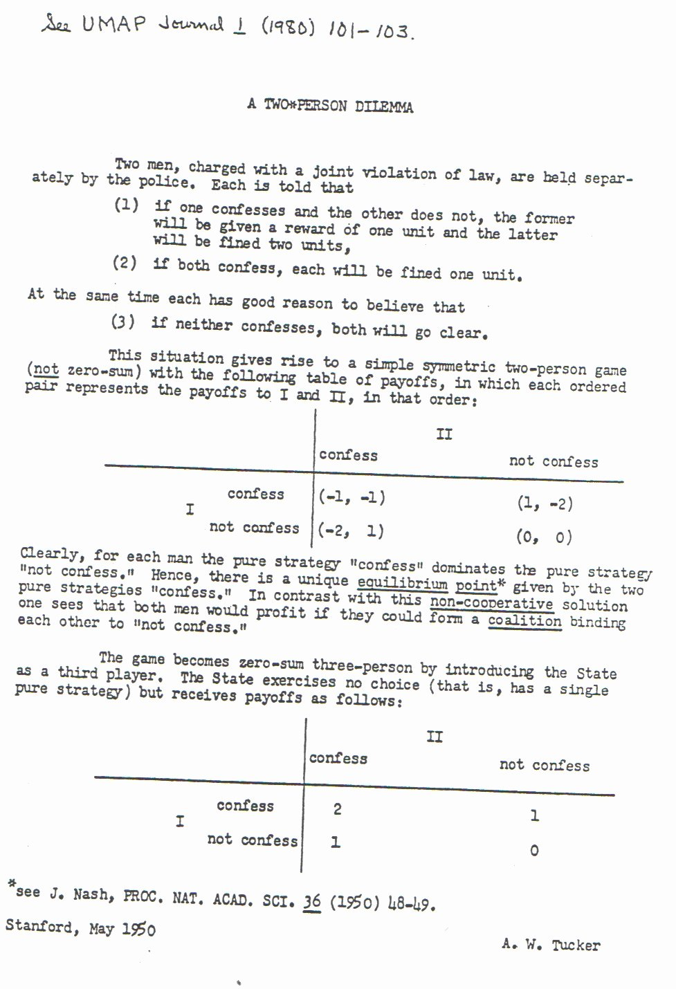 John Nash Letter Of Recommendation Beautiful Prisoner S Dilemma Citation Prisonersdilemma Gametheory