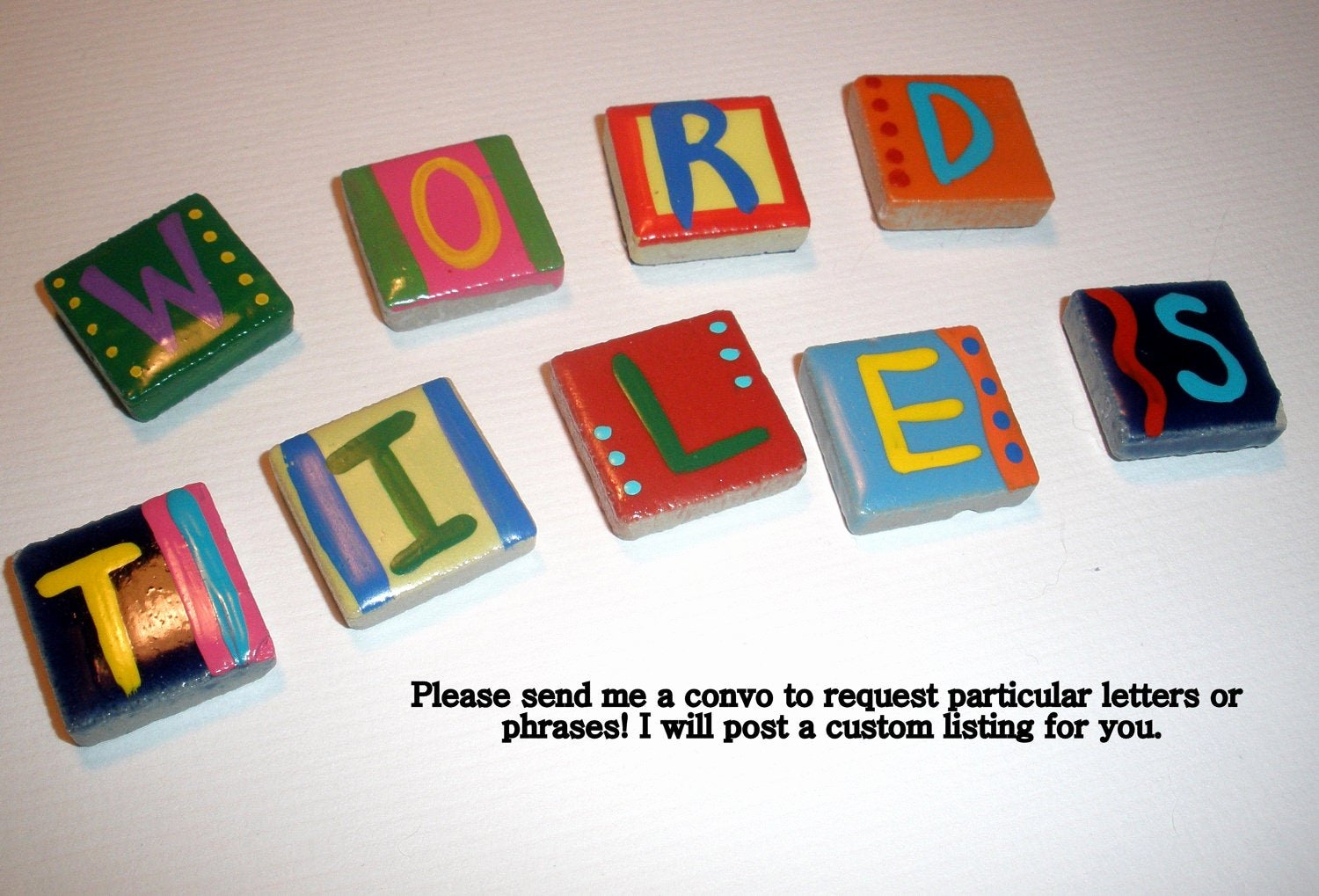 Just sold Letter to Neighbors Awesome Ceramic Tile Letter Magnets Custom order by