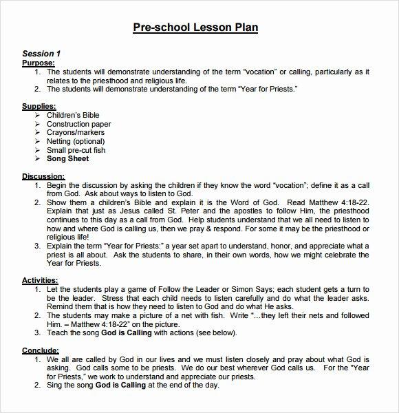 Kindergarten Lesson Plan Template Beautiful Sample Preschool Lesson Plan 10 Pdf Word formats