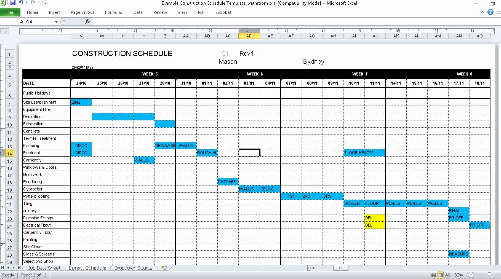 Kitchen Remodel Project Plan Template Beautiful Construction Schedule Template