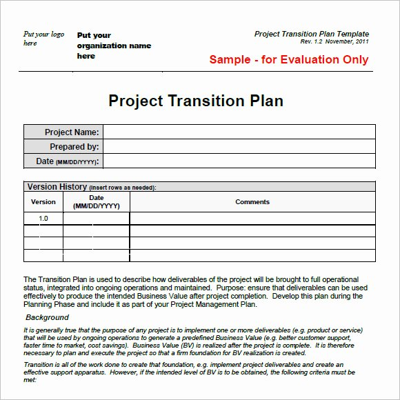 Knowledge Transition Plan Template Lovely 9 Transition Plan Samples