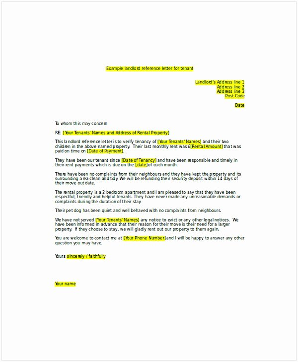 Landlord Letter Of Recommendation Fresh Landlord Re Mendation Letter