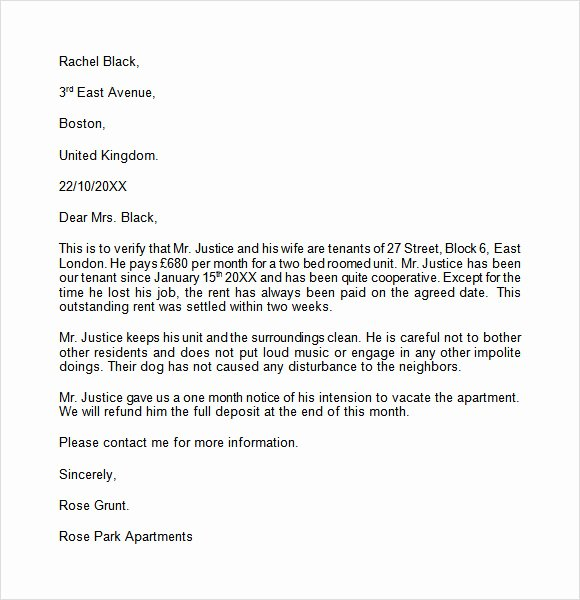 Landlord Letter Of Recommendation Inspirational Landlord Reference Letter Template 8 Download Free