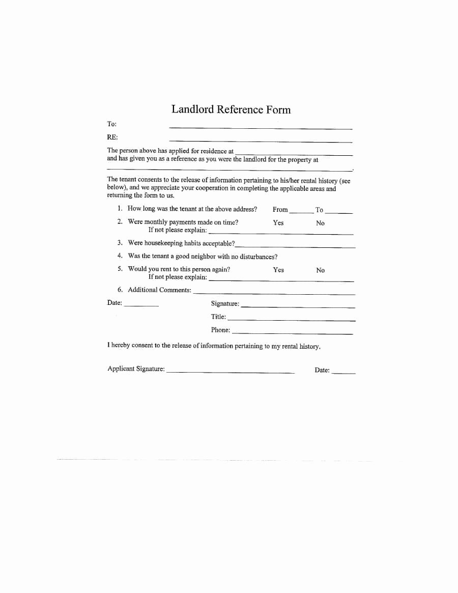 Landlord Letter Of Recommendation Lovely 40 Landlord Reference Letters & form Samples Template Lab