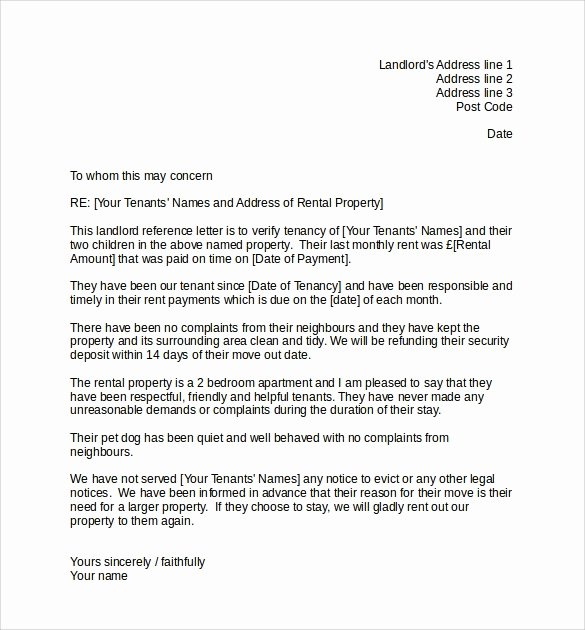 Landlord Letter Of Recommendation Lovely Landlord Tenant Reference Letter Letter Of Re Mendation