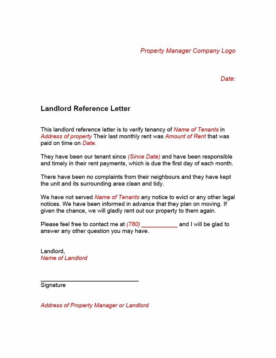 Landlord Letter Of Recommendation New 40 Landlord Reference Letters & form Samples Template Lab