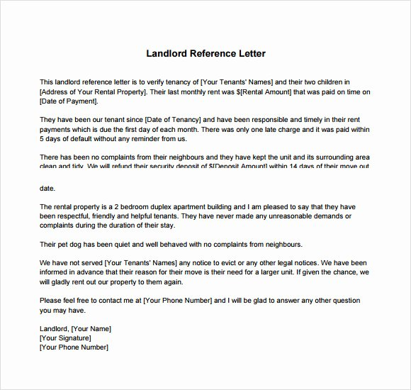 Landlord Letter Of Recommendation Unique Landlord Reference Letter Template 8 Download Free