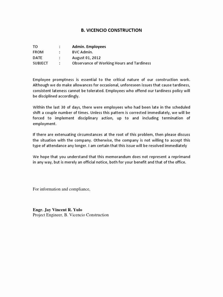 Late Letter Of Recommendation Inspirational Memorandum Tardiness