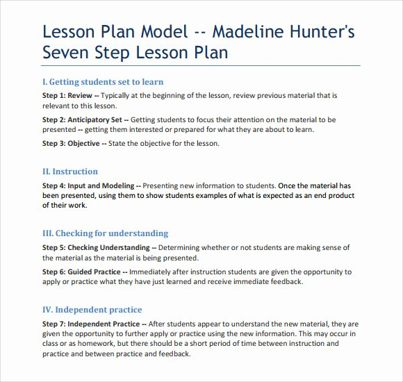 Lausd Lesson Plan Template Fresh 9 Madeline Hunter Lesson Plan Templates Download for Free