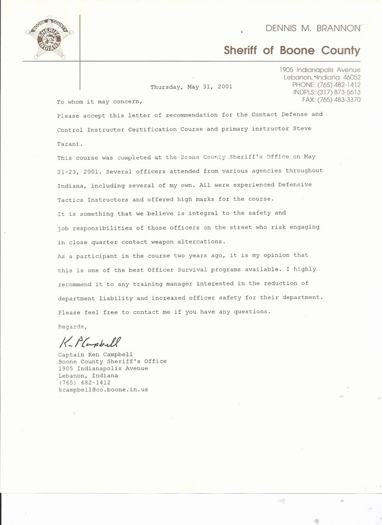 Law Enforcement Letter Of Recommendation Unique Law Enforcement Leo – Steve Tarani