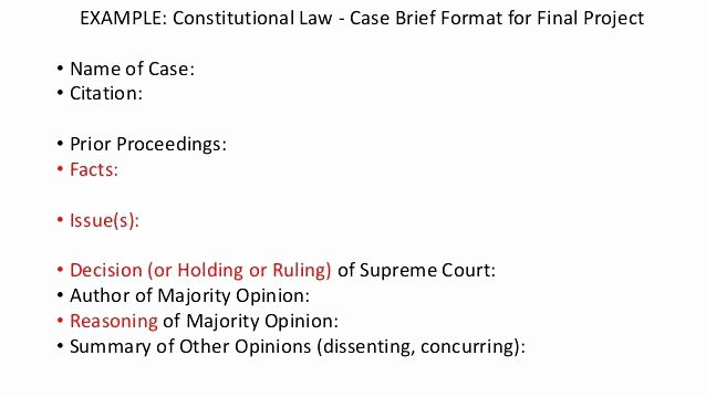 Law School Case Brief Template Fresh Case Brief format Example Sample Law Stu S for High