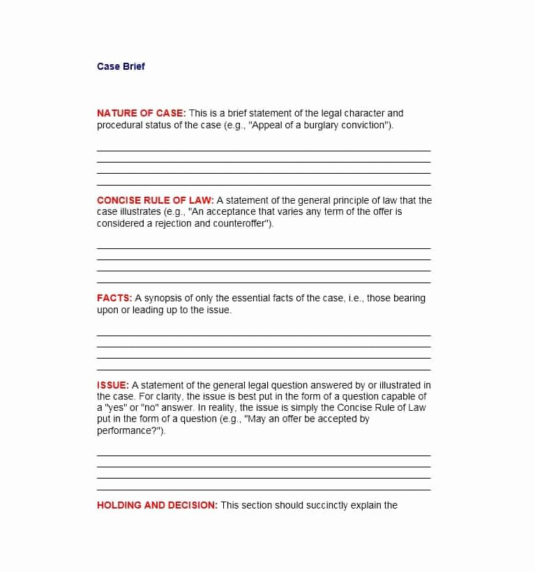 Law School Case Brief Template Lovely 40 Case Brief Examples & Templates Template Lab