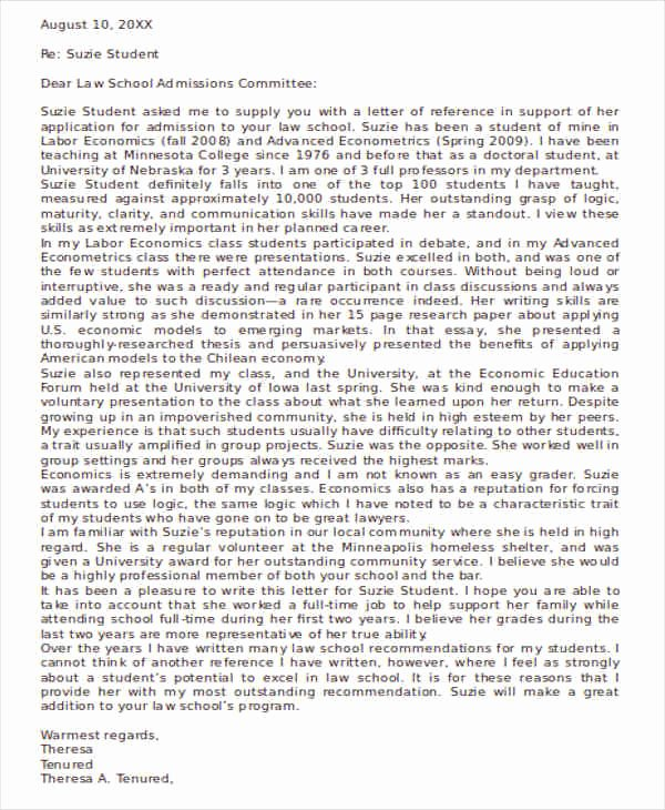 Law School Letter Of Recommendation Elegant 54 Re Mendation Letter Example Templates