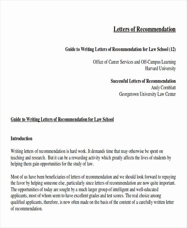 Law School Letter Of Recommendation Elegant Sample Law School Letter Of Re Mendation 6 Examples