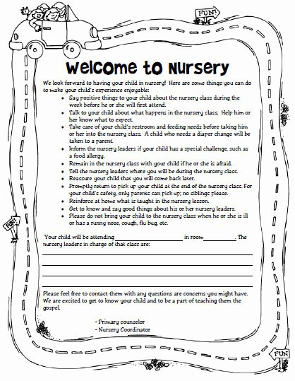 Lds Missionary Letter Template Lovely Wel E to Nursery Letter