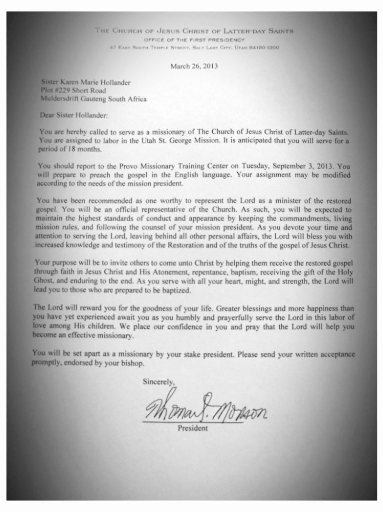 Lds Missionary Letter Template New Sister Hollander S Mission St George Utah Mission Call