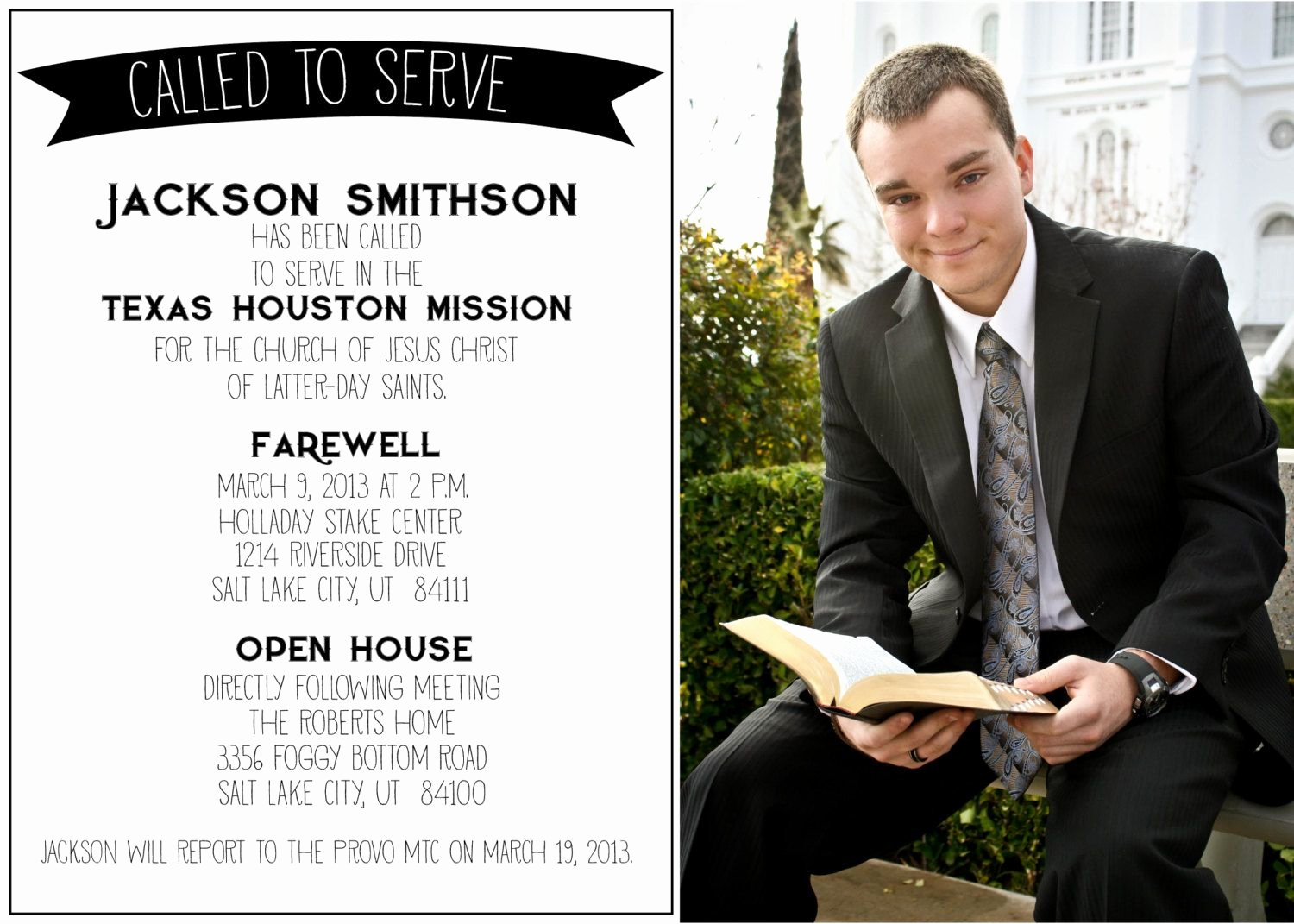 Lds Missionary Tag Template New Called to Serve Missionary Farewell Invitation