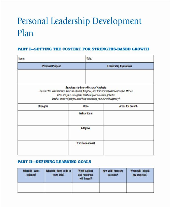 Leadership Development Plan Template New 58 Development Plan Examples & Samples Pdf Word Pages