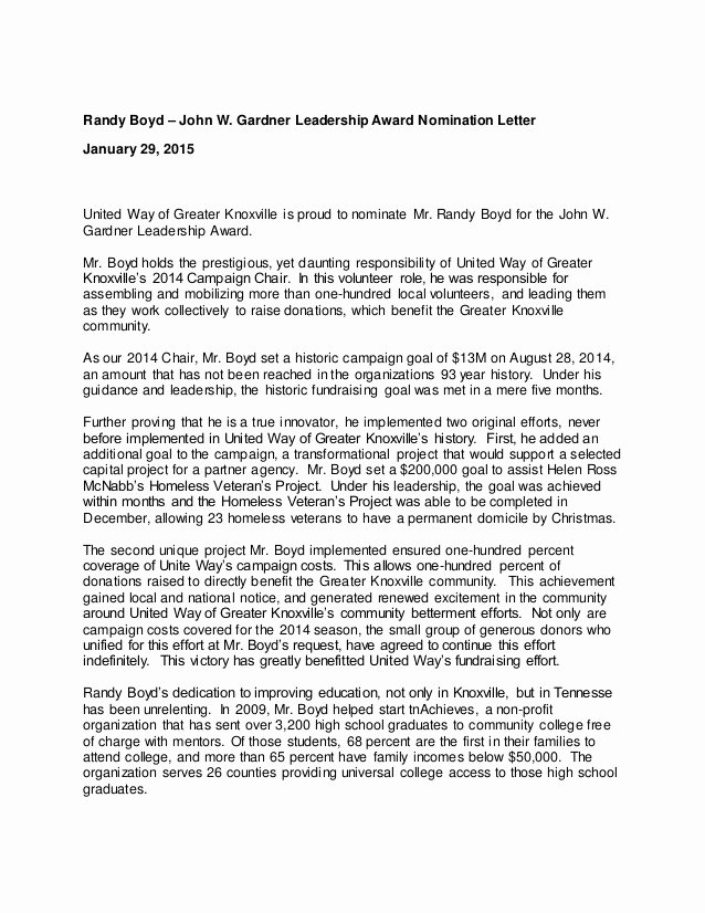 Leadership Letter Of Recommendation Beautiful John W Gardner Leadership Award Nomination Letter
