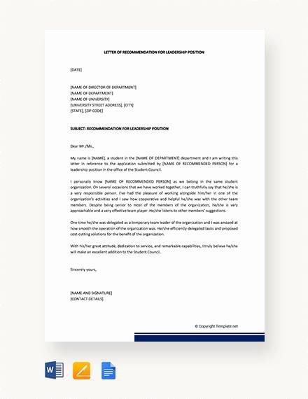 Leadership Letter Of Recommendation Best Of 9 Sample Leadership Re Mendation Letters Pdf Doc