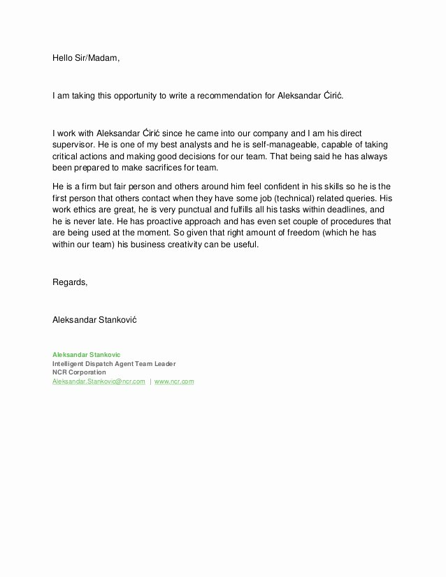 Leadership Letter Of Recommendation Fresh Letter Of Re Mendation Team Leader