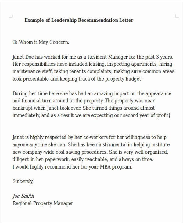 Leadership Letter Of Recommendation Luxury 9 Sample Leadership Re Mendation Letters Pdf Doc