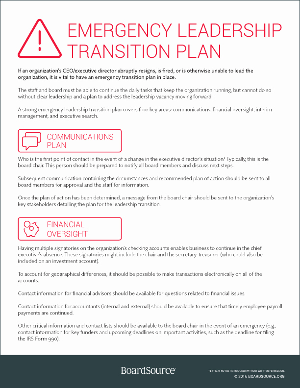 Leadership Transition Plan Template Luxury the Board Staff Partnership Boardsource