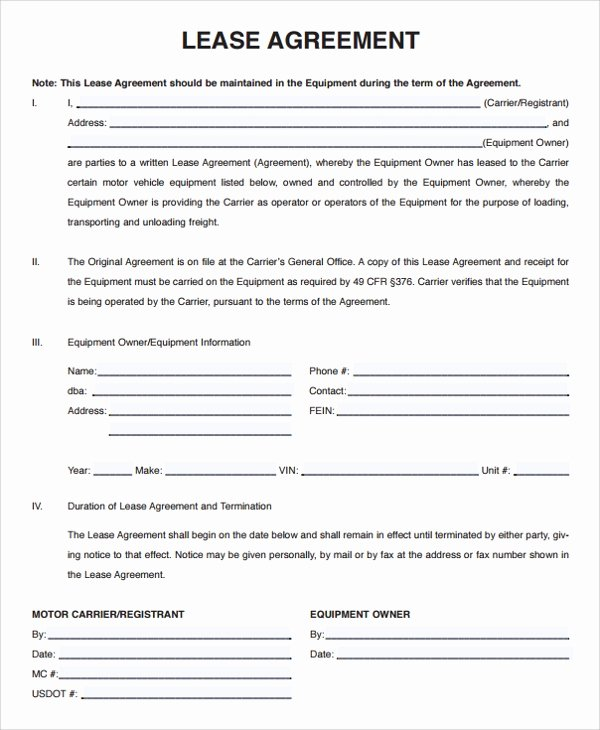 Lease Transfer Agreement Template Fresh 15 Owner Operator Lease Agreements Word Pdf
