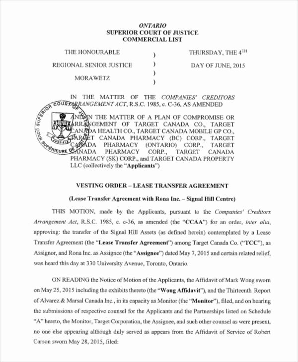Lease Transfer Agreement Template Unique 8 Transfer Agreements – Free Samples Examples formats