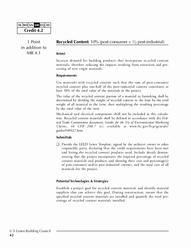 Leed Letter Template Awesome Leed