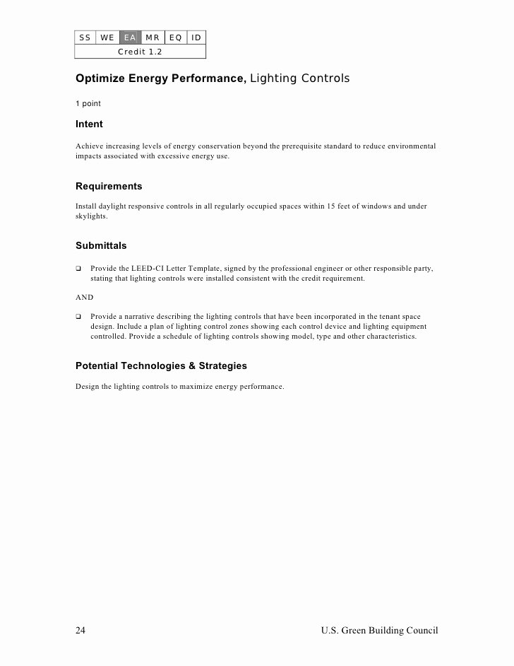 Leed Letter Template Inspirational Leed Ci Abbreviated Manual