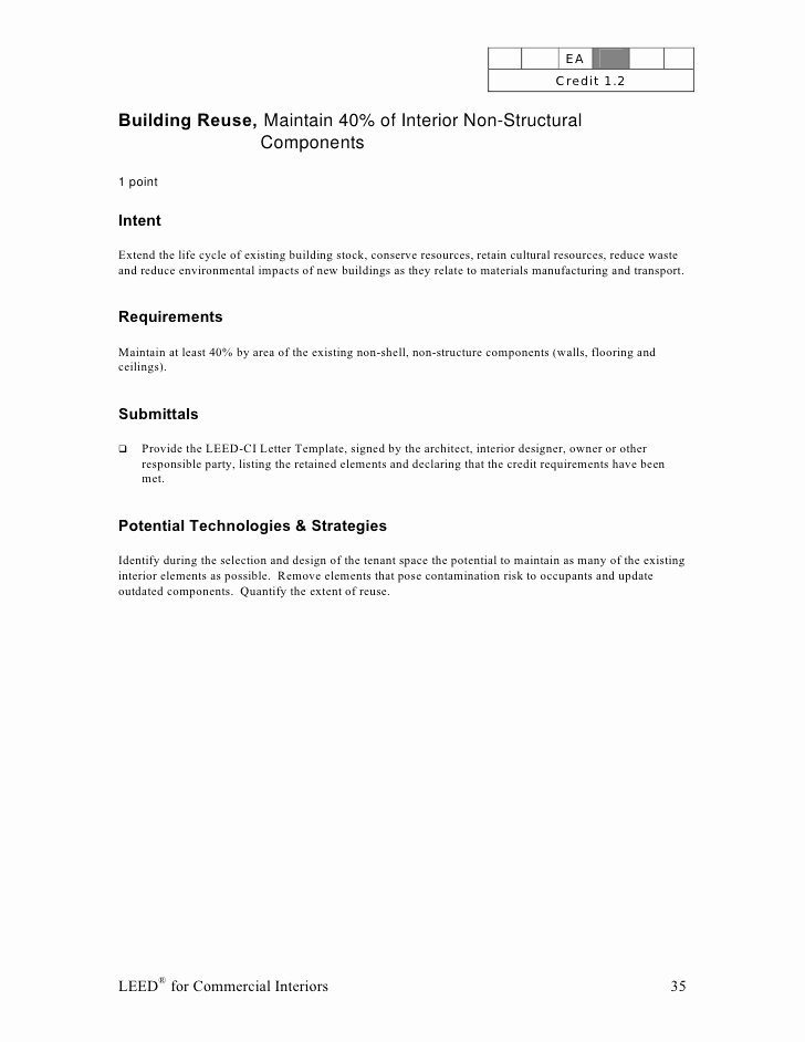 Leed Letter Templates Beautiful Leed Ci Abbreviated Manual