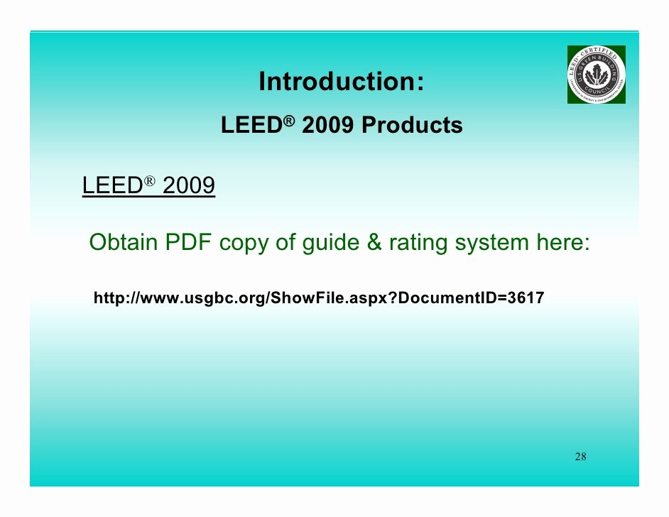 Leed Letter Templates Beautiful Whats New Leed 2009 Lorman Ppt