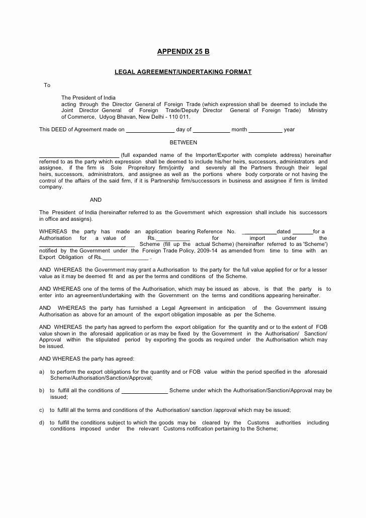 Legal Letter format Template Awesome Legal Agreement Undertaking format