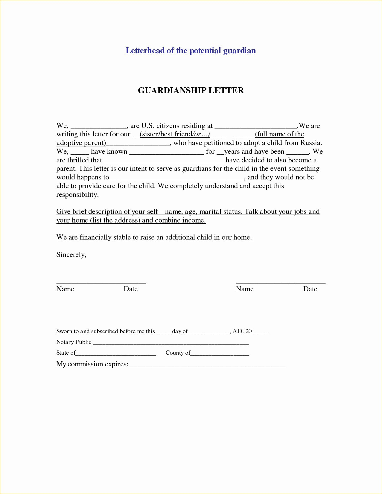 Legal Letter format Template Lovely Permanent Guardianship Letter Template Collection