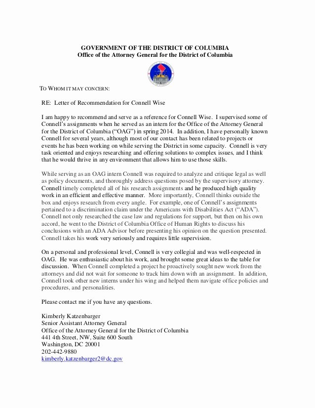 Legal Letter Of Recommendation Luxury Oag Letter Of Re Mendation for Connell Wise General