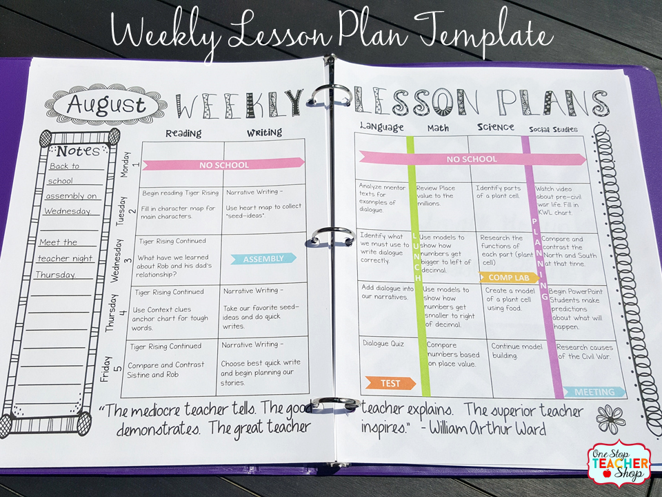 Lesson Plan Book Template Printable Unique Put to Her the Perfect Teacher Binder for Better