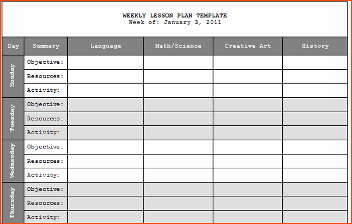 Lesson Plan Calendar Template Inspirational 7 Weekly Lesson Plan Template Bookletemplate