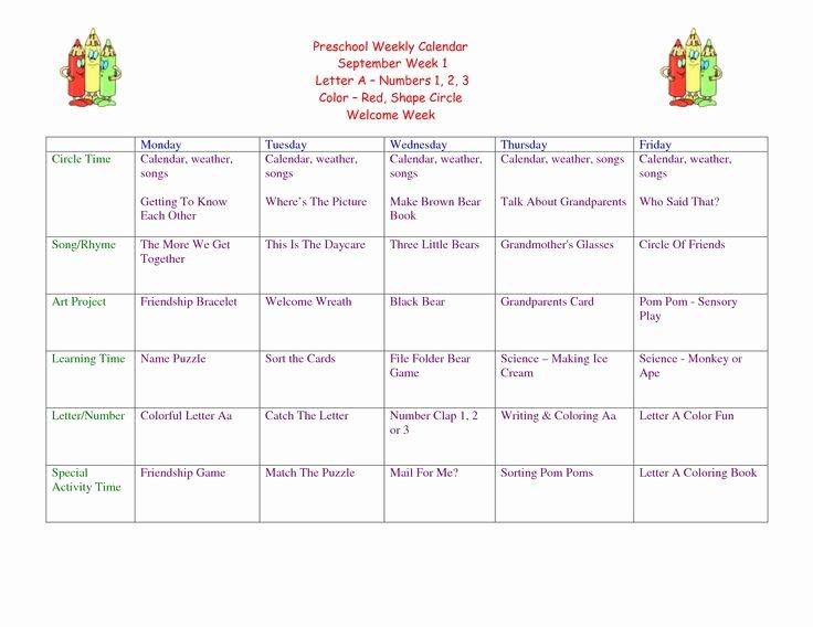 Lesson Plan Calendar Template New 1 Week Lesson Plan Template Preschool Weekly Lesson Plan