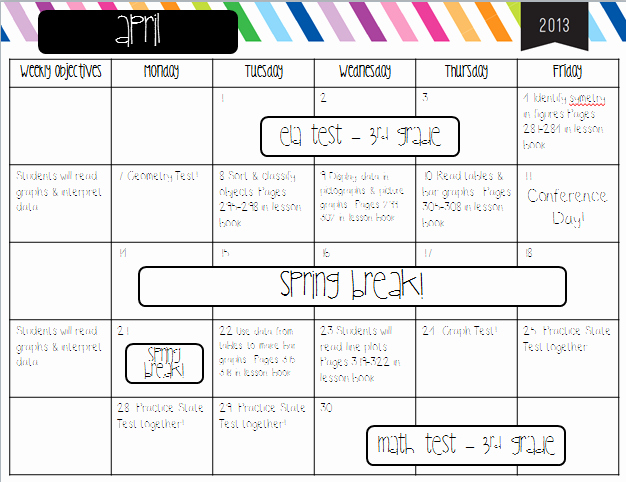 Lesson Plan Calendar Template New Lesson Planning for Math