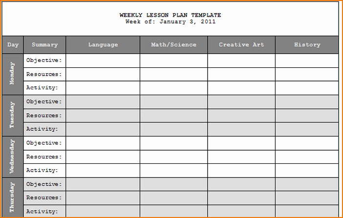 Lesson Plan Calendar Template Unique 5 Weekly Lesson Plan Template