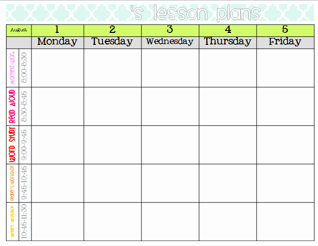 Lesson Plan Calendar Template Unique Lesson Plan Calendar Template Word Printable Weekly Lesson