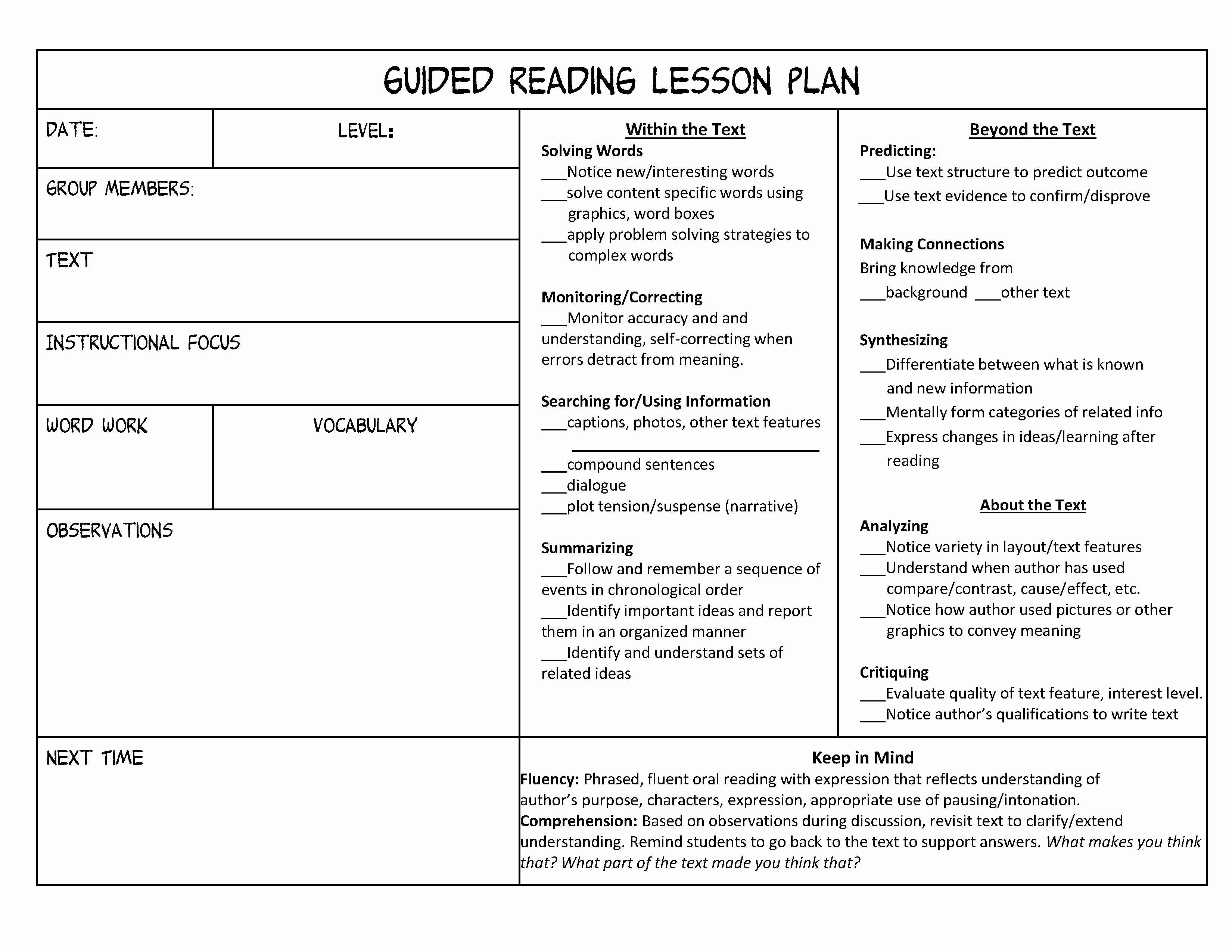 Lesson Plan format Template Fresh Guided Reading organization Made Easy