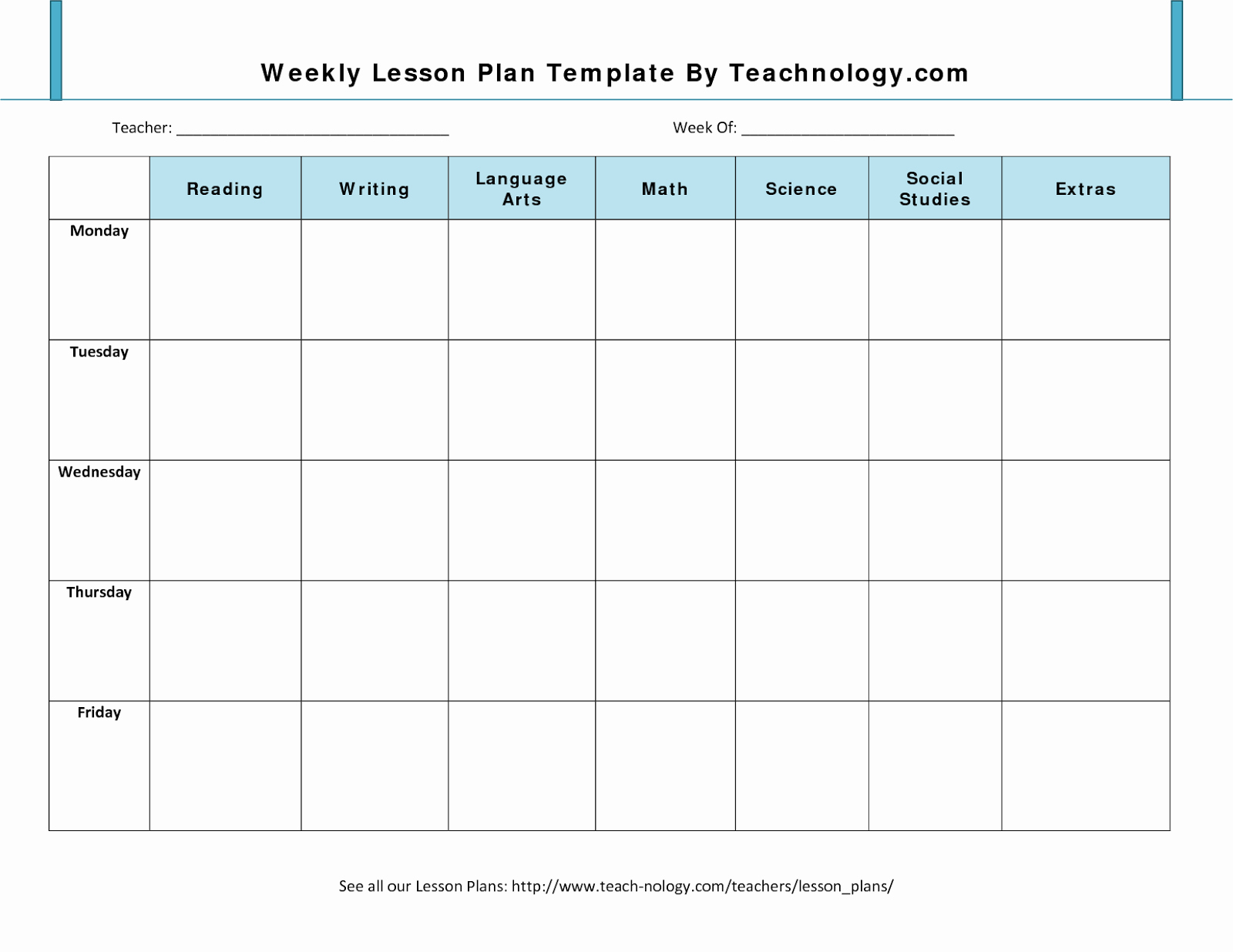 Lesson Plan format Template Unique 7 Weekly Lesson Plan Template