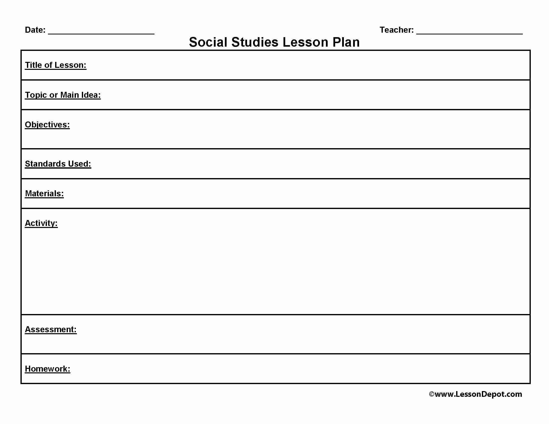 Lesson Plan Outline Template Elegant Printable Blank Lesson Plans form