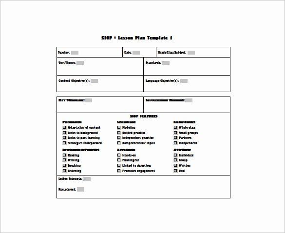 Lesson Plan Template Doc Elegant 9 Siop Lesson Plan Templates Doc Excel Pdf