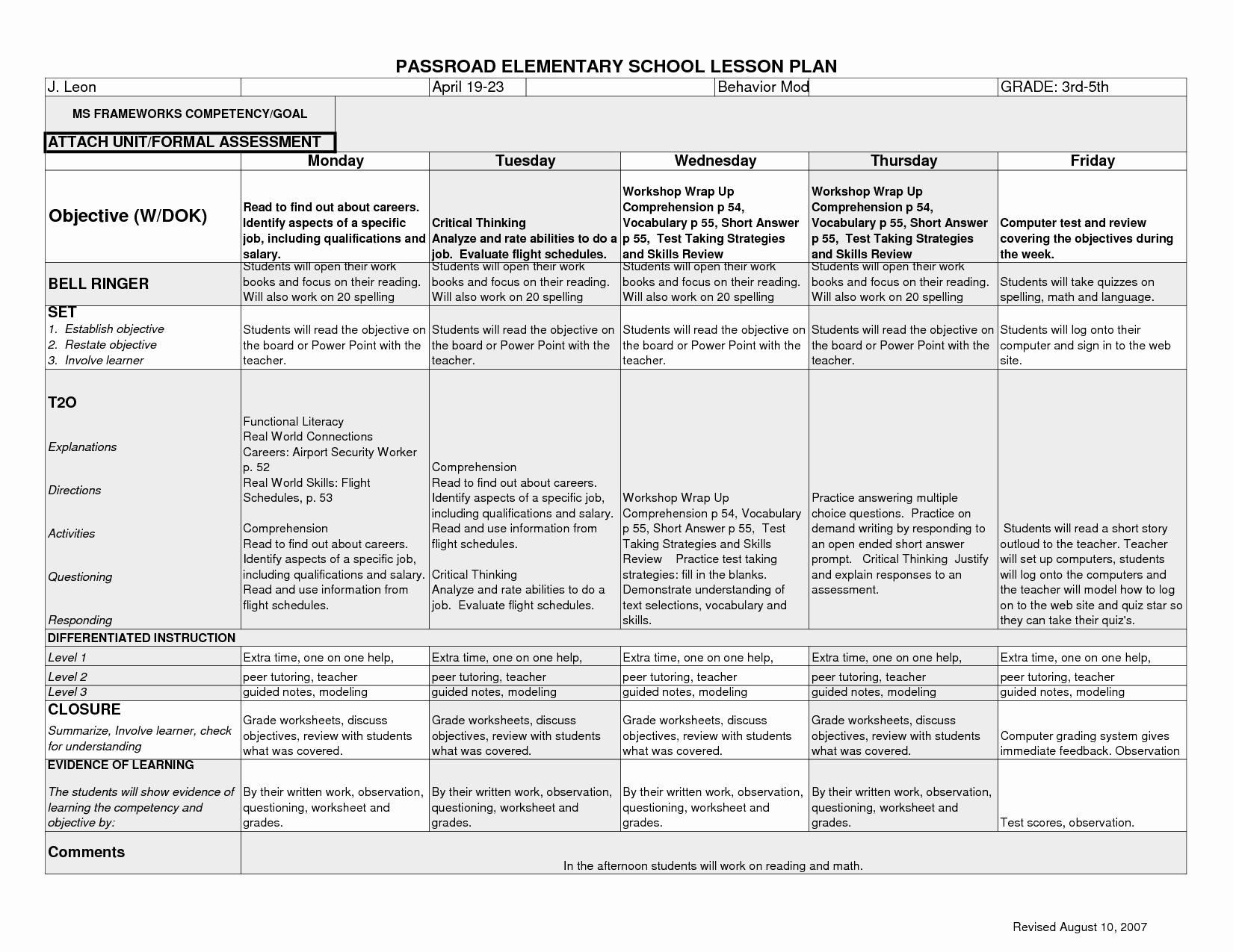 Lesson Plan Template Elementary Fresh 12 Best Of Elementary Art History Worksheets Art