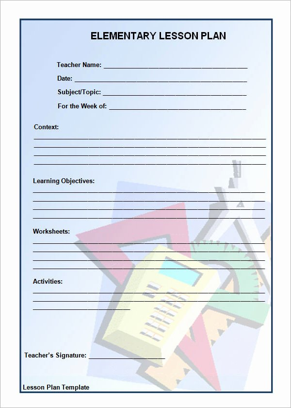 Lesson Plan Template Elementary Fresh 12 Sample Unit Plan Templates to Download for Free